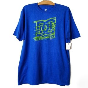 DC shoe co blue /neon green short sleeve t-shirt